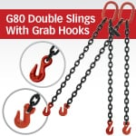 Grade 80 Double Chain Slings with Grab Hooks