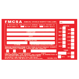 Aluminum Annual Vehicle Inspection Labels
