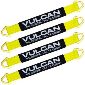 VULCAN Tie Down Axle Straps with Wear Pad - 4 Pack - Classic Yellow - 3,300 Pound Safe Working Load