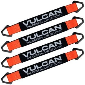 VULCAN Car Tie Down Axle Strap with Wear Pad - 2 Inch x 22 Inch - 4 Pack - Classic Yellow - 3,300 Pound Safe Working Load