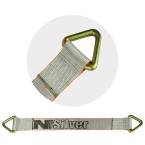 VULCAN Car Tie Down Axle Strap - 3 Inch x 30 Inch - Silver Series - 5,000 Pound Safe Working Load