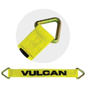 VULCAN Car Tie Down Axle Strap - 3 Inch x 30 Inch - Classic Yellow - 5,000 Pound Safe Working Load