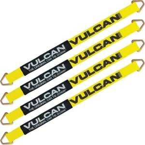 VULCAN Car Tie Down Axle Strap with Wear Pad - 2 Inch x 36 Inch, 4 Pack - Classic Yellow - 3,300 Pound Safe Working Load