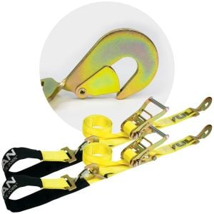 VULCAN Axle Tie Down Combo Strap Kit - 2 Inch - Classic Yellow - 3,300 Pound Safe Working Load