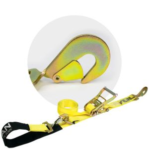 VULCAN Classic Yellow Series 2'' Axle Tie Down Combo Straps with Snap Hooks