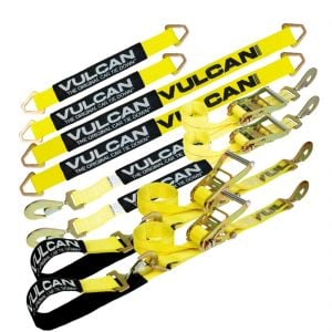 "VULCAN Ultimate Axle Tie Down Kit - Classic Yellow - Includes (2) 22"" Axle Straps, (2) 36"" Axle Straps, (2) 96"" Snap Hook Ratchet Straps And (2) 112"" Axle Tie Down Combination Straps"
