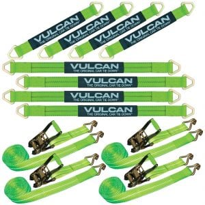"""VULCAN Complete Axle Strap Tie Down Kit with Wire Hook Ratchet Straps - High-Viz - Includes (4) 22"""" Axle Straps, (4) 36"""" Axle Straps, and (4) 15' Wire J Hook Ratchet Straps"""