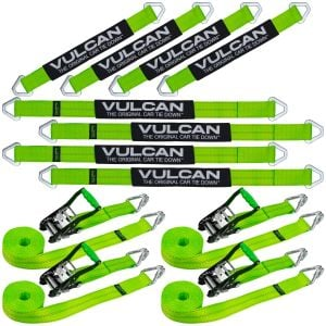 "VULCAN Complete Axle Strap Tie Down Kit with Wire Hook Ratchet Straps - High-Viz - Includes (4) 22"" Axle Straps, (4) 36"" Axle Straps, and (4) 15' Wire J Hook Ratchet Straps"