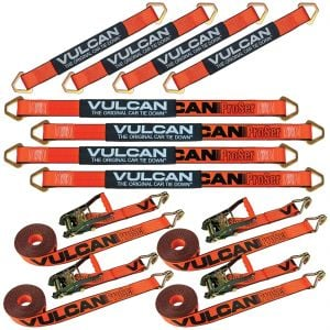 "VULCAN Complete Axle Strap Tie Down Kit with Wire Hook Ratchet Straps - PROSeries - Includes (4) 22"" Axle Straps, (4) 36"" Axle Straps, and (4) 15' Wire J Hook Ratchet Straps"