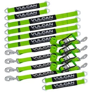 "VULCAN Complete Axle Strap Tie Down Kit with Snap Hook Ratchet Straps - High-Viz - Includes (4) 22"" Axle Straps, (4) 36"" Axle Straps, and (4) 8' Snap Hook Ratchet Straps"