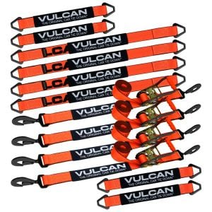 "VULCAN Complete Axle Strap Tie Down Kit with Snap Hook Ratchet Straps - PROSeries - Includes (4) 22"" Axle Straps, (4) 36"" Axle Straps, and (4) 8' Snap Hook Ratchet Straps"