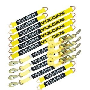 "VULCAN Complete Axle Strap Tie Down Kit with Snap Hook Ratchet Straps - Classic Yellow - Includes (4) 22"" Axle Straps, (4) 36"" Axle Straps, and (4) 8' Snap Hook Ratchet Straps"