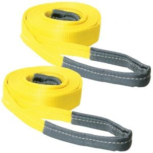 VULCAN Tow Strap with Reinforced Eye Loops - 2 Inch x 20 Foot, 2 Pack - 5,000 Pound Towing Capacity