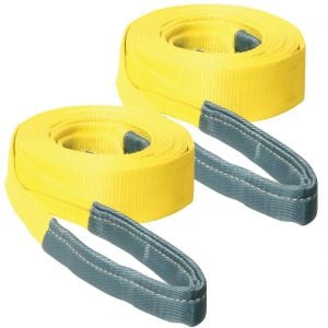 VULCAN Tow Strap with Reinforced Eyes - Standard Duty - 3 Inch x 20 Foot, 2 Pack - 7,500 Pound Towing Capacity