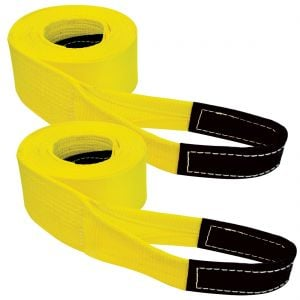 VULCAN Tow Strap with Reinforced Eyes - Heavy Duty - 4 Inch x 20 Foot, 2 Pack - 10,000 Pound Towing Capacity