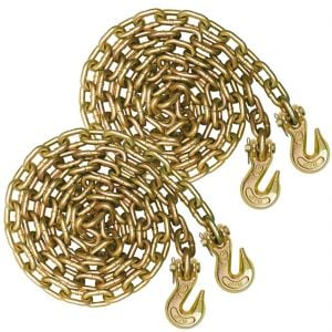 VULCAN Binder Chain with Clevis Grab Hooks - Grade 70 - 5/16 Inch x 20 Foot, 2 Pack - 4,700 Pound Safe Working Load