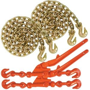 VULCAN Chain and Load Binder Kit - Grade 70 - 5/16 Inch x 20 Foot - 4,700 Pound Safe Working Load
