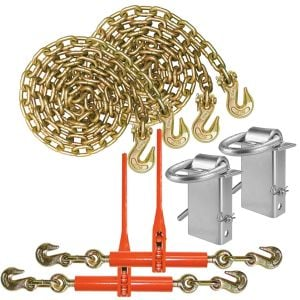 VULCAN Binder Chain, Load Binder, and D Ring Kit - Grade 70 - 3/8 Inch x 10 Foot