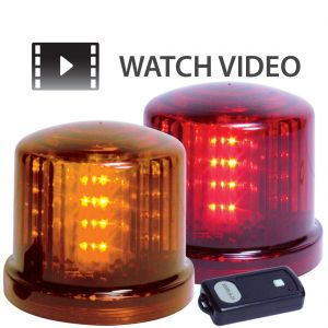 Battery Powered 5'' LED Warning Beacon with Remote (Amber or Red)