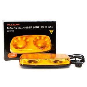 VULCAN Magnetic Amber Mini Light Bar - Class 2 - For Oversize Loads, Trucks, Trailers, SUVs, And Pilot Cars