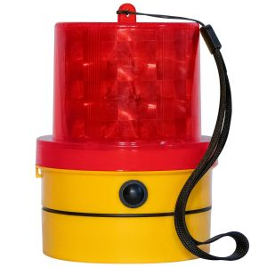 VULCAN Red LED Emergency Warning Beacon - Portable, Magnetic And Battery-Operated - 24 LEDs - Photocell Technology - Operates In Low Light Or Dark Conditions Only