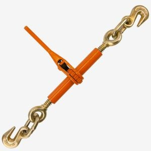 VULCAN Load Binder with 2 Grab Hooks - Ratchet Style - 2,600 Pound Safe Working Load (Works with 1/4 or 5/16 Inch Grade 43 Chain)