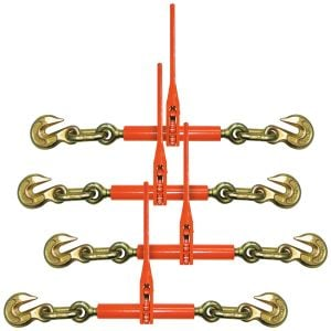 VULCAN Ratchet Style Load Binder with 2 Grab Hooks, 4 Pack - 9,200 Pound Safe Working Load (For 3/8 Inch Grade 70 or 1/2 Inch Grade 43 Chain)