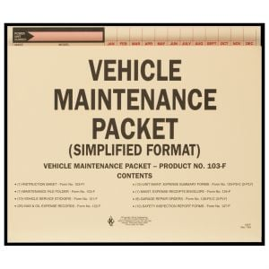 Vehicle Maintenance File Packet with Folder