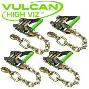 VULCAN High-Viz 2'' Handle Ratchet Buckle with Chain Anchor - 3300 lbs. SWL - 4 pack