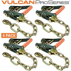 VULCAN PROSeries 2'' Handle Ratchet Buckle with Chain Anchor - 3300 lbs. SWL - 4 Pack
