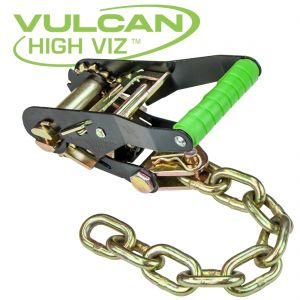 VULCAN High-Viz 2'' Wide Handle Ratchet Buckle with Chain Tail - 3300 lbs. SWL