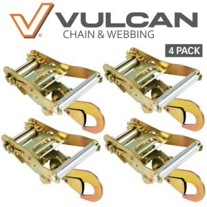 VULCAN Ratchet Strap Buckles with Snap Hooks - 3,300 Pound Safe Working Load, 4 Pack