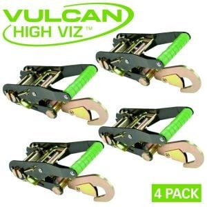 VULCAN High-Viz 2'' Wide Handle Ratchet Buckle with Snap Hook - 3300 lbs. SWL (4-Pack)