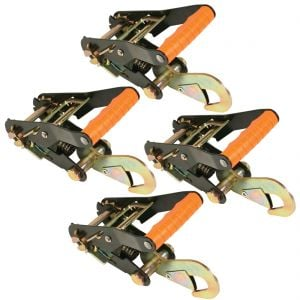 VULCAN PROSeries 2'' Wide Handle Ratchet Buckle with Snap Hook Ratchets - 3300 lbs. SWL (4-Pack)