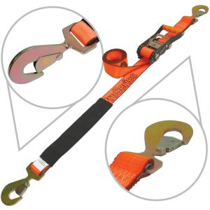"VULCAN PROSeries 96"" Snap Hook Car Tie Down with Flat Snap Ratchet, 3300 lbs. SWL"