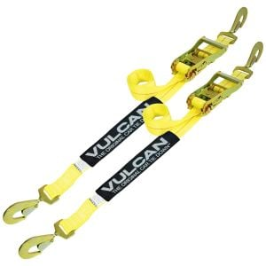 VULCAN Race Car Tie Down - 2 Inch x 8 Foot, 2 Pack - Classic Yellow - 3,300 Safe Working Load