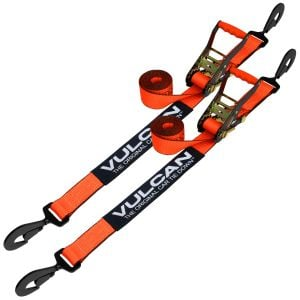 VULCAN Car Tie Down with Twisted Snap Hooks - 96 Inch, 2 Pack - PROSeries - 3,300 Pound Safe Working Load