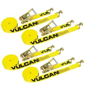 VULCAN Ratchet Straps with Wire J Hooks - 2 Inch x 15 Foot, 4 Pack - Classic Yellow - 3,300 Pound Safe Working Load
