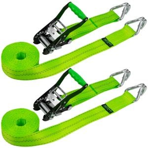 VULCAN Ratchet Strap with Wire Hooks - 2 Inch x 15 Foot, 2 Pack - High-Viz - 3,300 Pound Safe Working Load