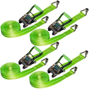 VULCAN Ratchet Strap with Wire Hooks - 2 Inch x 15 Foot, 4 Pack - High-Viz - 3,300 Pound Safe Working Load