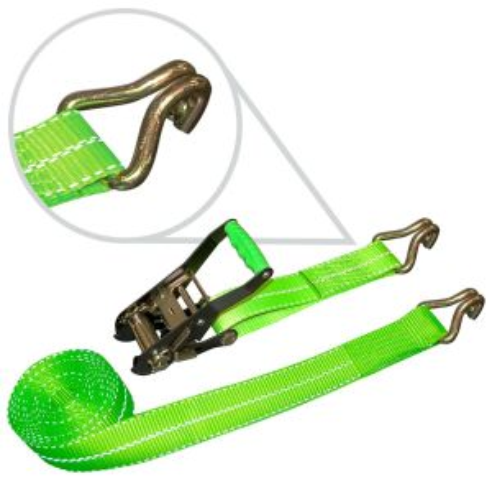 VULCAN High-Viz 2'' x 15' Ratchet Strap With Wire J-Hooks