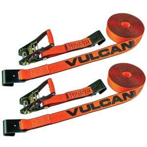VULCAN Ratchet Strap with Flat Hooks - 2 Inch x 27 Foot, 2 Pack - PROSeries - 3,300 Pound Safe Working Load