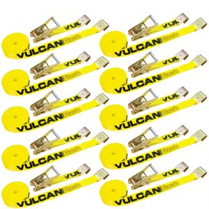 VULCAN Ratchet Strap with Flat Hooks - 2 Inch x 27 Foot, 10 Pack - Classic Yellow - 3,300 Pound Safe Working Load