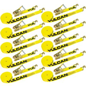 VULCAN Ratchet Strap with Wire Hooks 2 Inch x 30 Foot, 10 Pack - Classic Yellow - 3,300 Pound Safe Working Load