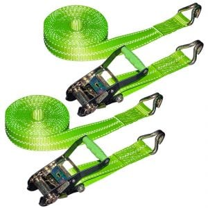 VULCAN Ratchet Strap with Wire Hooks 2 Inch x 30 Foot, 2 Pack - High Viz - 3,300 Pound Safe Working Load