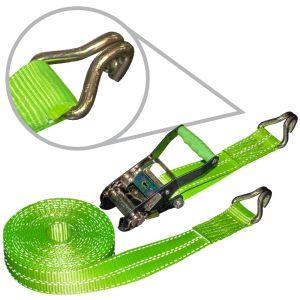 VULCAN High-Viz 2'' x 30' Ratchet Strap With Wire J-Hooks
