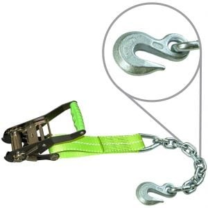 VULCAN High-Viz 2'' Wide Handle Ratchet Buckle with Webbing And Chain Anchor - 3300 lbs. SWL