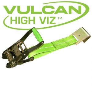 VULCAN High-Viz 2'' Wide Handle Ratchet Buckle with Webbing And Flat Hook - 3300 lbs. SWL