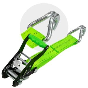 VULCAN High-Viz 2'' Wide Handle Ratchet Buckle with Webbing And Wire J-Hook - 3300 lbs. SWL