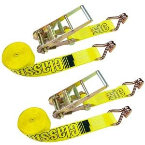VULCAN Ratchet Strap with Wire Hooks - 3 Inch x 27 Foot, 2 Pack - Classic Yellow - 5,000 Pound Safe Working Load